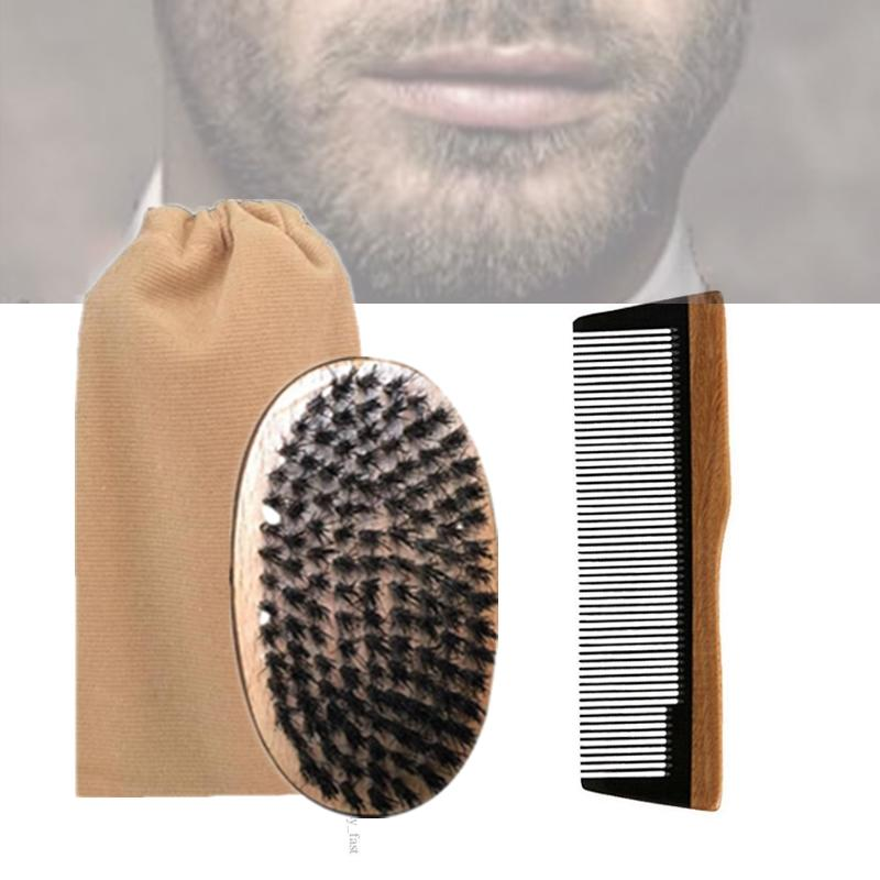 Brand New 3in1 Boar Bristle Palm Brush & Horn Wood Comb Cotton Bag Set Travel Carry Makeup Fashion Hair Care Styling Tool Men Beard Grooming