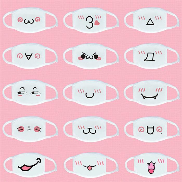 Маски Korean Pop Cute Anime Роты Ткань мультфильм Pattern пыл Хлопок Анти Dust лицо многоразовый Белая маска Fy9143
