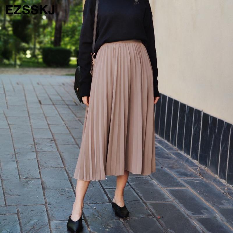 o verão chiffon plissado mulheres Saia 2020 elegante primavera-coreano de cintura alta longa tutu saia feminina A linha de tule saia