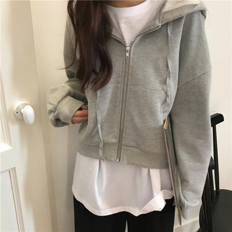 new autumn ins casual style long sleeve Sweatshirts short solid zip-up pocket hooded hot loose Hoodies vetement femme Ladies T200914