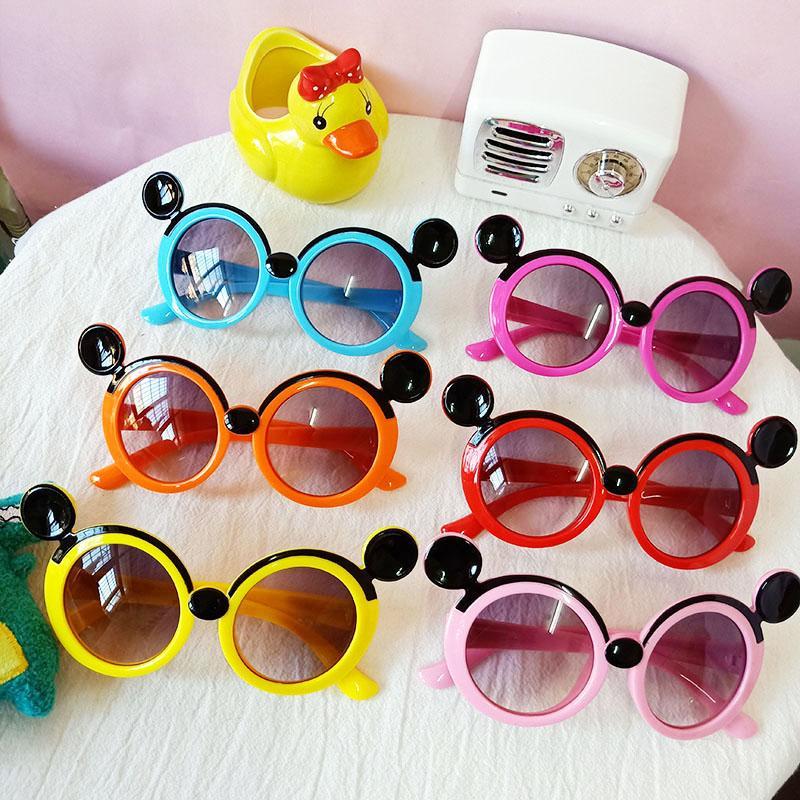Retro Poco carino cornice rotonda mouse Occhiali da sole dei bambini dei bambini UV400 Rosso Blu lente a specchio Occhiali da sole Ragazzi Ragazze