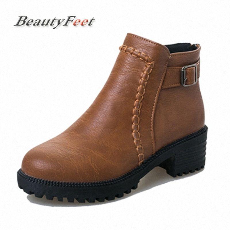 Outono Inverno casuais sapatos de couro botas mulheres confortáveis Salto Med Zipper Moda Buckle Mulheres Botas BeautyFeet Erid #