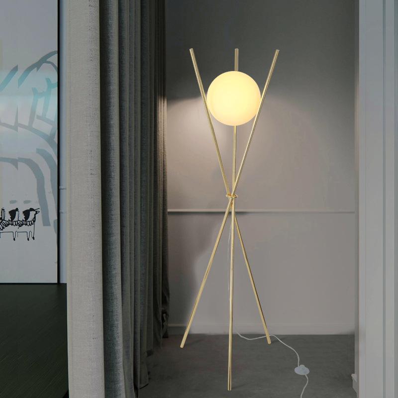 Vintage Metal Cam Zemin Lambası Otel Ev Oturma Odası Yatak Odası Yanında Altın Okuma Ayakta Işık FA110