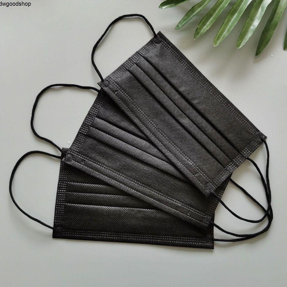 3 capas Negro Tejido anti No Desechables mascarillas faciales Máscaras cubierta protectora de la boca del polvo de PM2,5 de seguridad