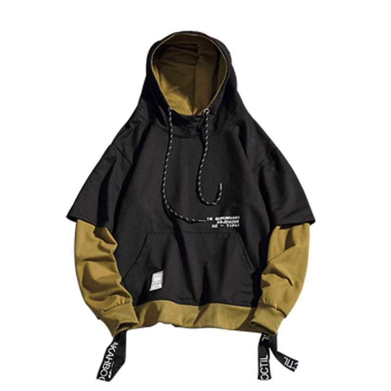 Harajuku moda para hombre con capucha de Hip Hop Sudadera con capucha sudaderas remiendo Streetwear informal 5XL de talle bajo la ropa