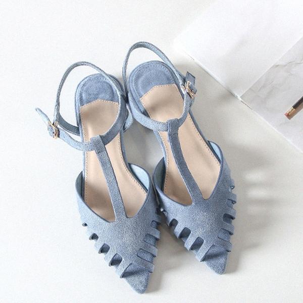 Boussac ausschneidet Flache Sandalen Frauen Spitzschuh-Sommer-Strand-Sandelholz-Frauen weiche feste Sommer-Schuhe SWA0097 IKw9 #