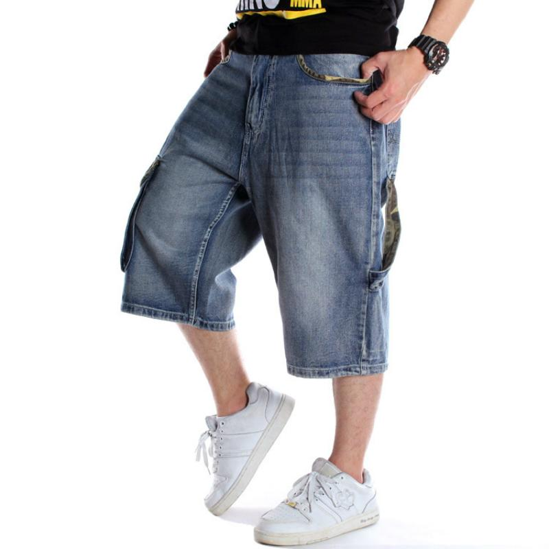Mens Plus Size en vrac Baggy Denim Jeans court Hommes Mode Streetwear Hip Hop long 3/4 Capri Cargo Shorts Pocket Bermudes Homme Bleu 200922