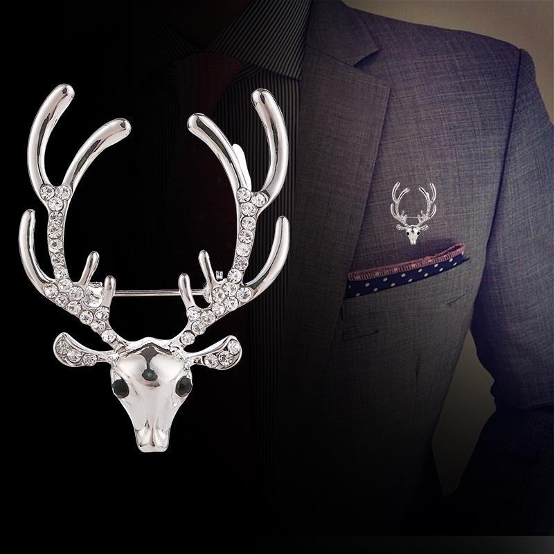 accesorios europeos y americanos populares de ropa, alfileres de época ramillete de Navidad, ciervos personalizada diamante broches de cabeza, unisex