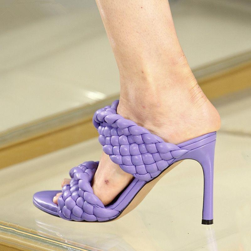Cuir tressées à talons hauts sandales femmes piste Chaussures Soirée Femme Croix Vélin Folds Mules Chaussures sexy talon mince pantoufles femme 200921