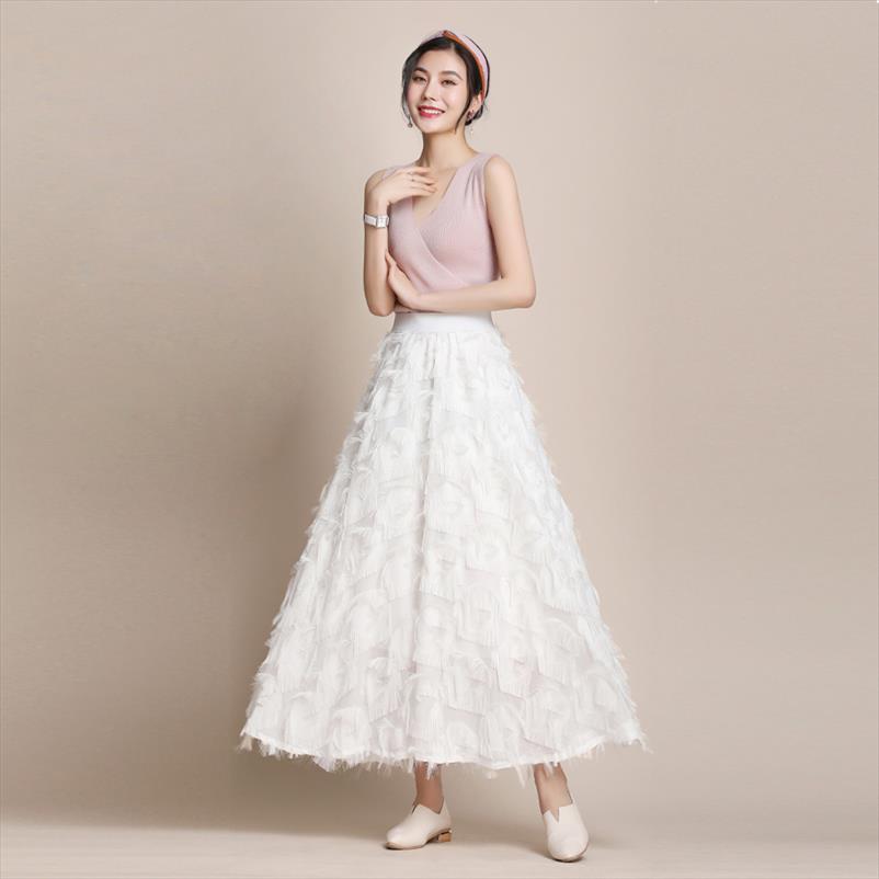 Primavera-Verão New 2.020 Mulheres Doce penas borla saia longa Mulheres cintura alta Streetwear A Linha Chiffon Saias Branco Preto Vermelho