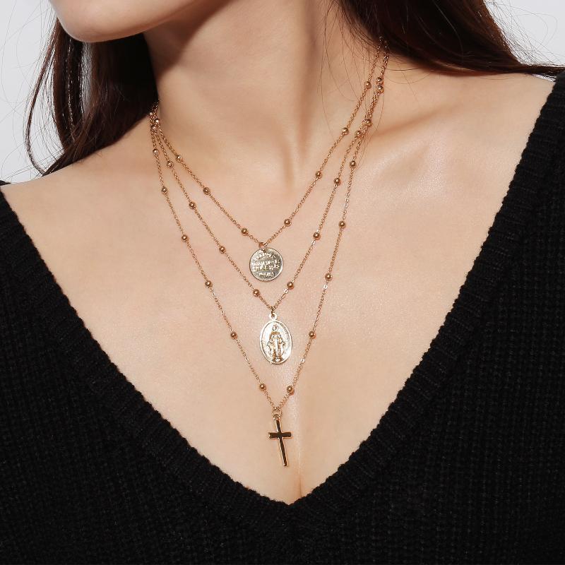 10pc Bohemian Çapraz Katmanlı Kolye Altın Jesus Maria Para Haç kolye kolye Kadınlar Bildirimi Bakır Boncuk Moda Takı