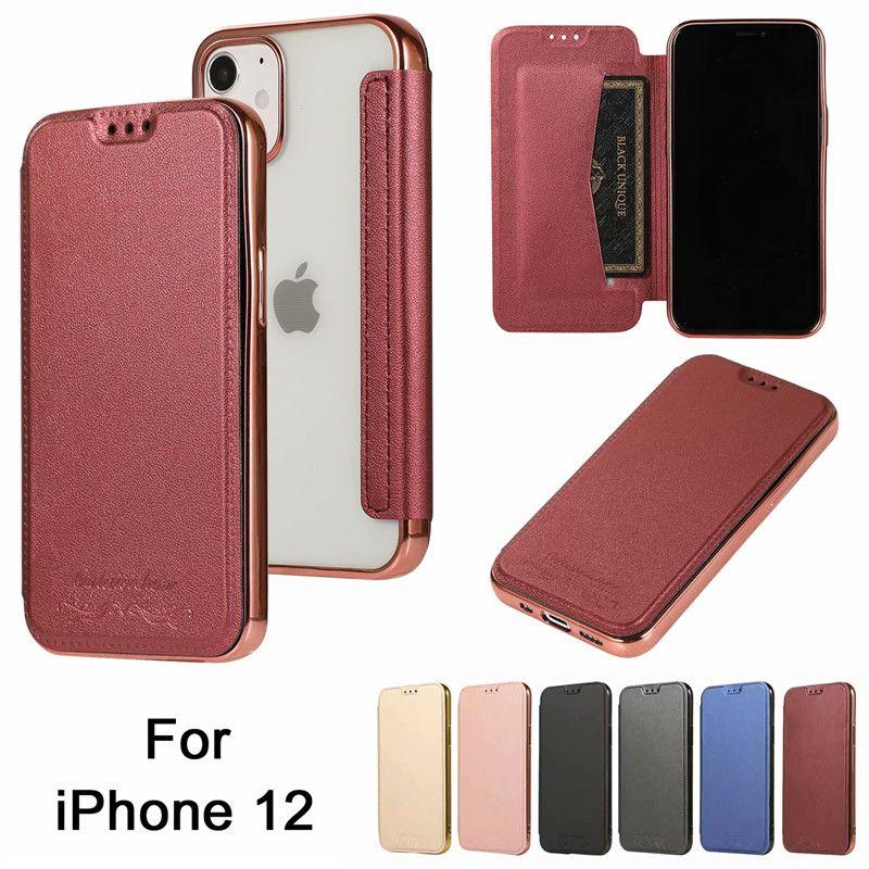 İPhone 12 11 Pro Max X XR XSMAX 8 7 Artı Kılıfları TPU Şeffaf Cüzdan Deri Kapak Arka Kapak Telefon Kılıfı