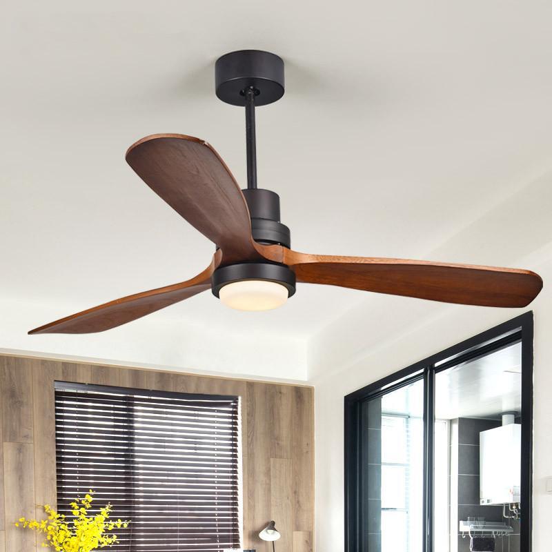 Ventilatori elettrici Nordici Ventilatore del soffitto Light Personalità creativa per soggiorno in legno massello 2.4G RF Telecomando LED Chip AC220V