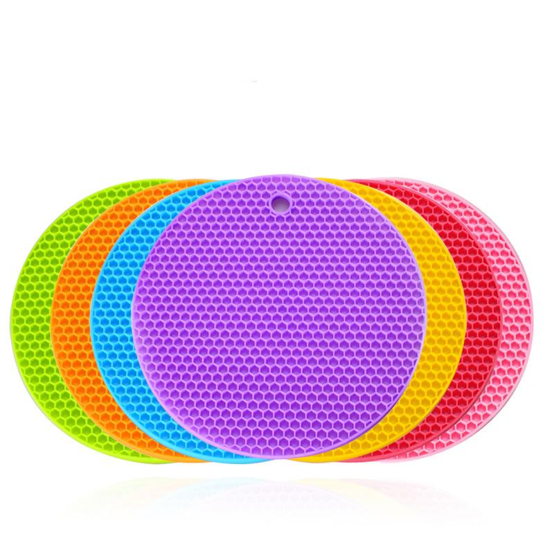 83.5G espesado de silicona Honeycomb Mat Ronda de cocina de Silicón impermeable Mantel Copa pegamento del cojín del calor alfombrilla antideslizante con el envío rápido de DHL