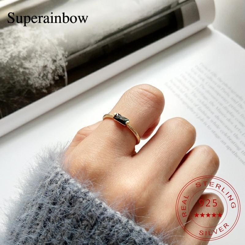 SUPERAINBOW 925 Sterling Silver Square Black Cubic Zircon Open Finger Ring for Women Simple Jewelry Gifts SR-R35