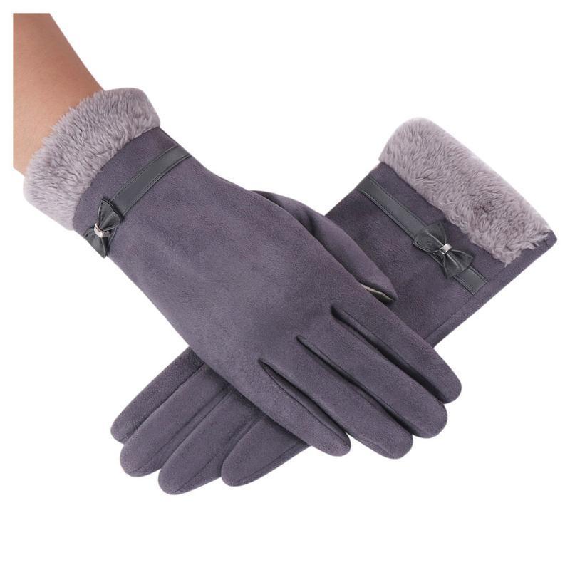 Cinque Guanti dita Guanti da donna inverno signore eleganti guanti caldi di lusso bowknot thermal fleece addensanti guantes mujer