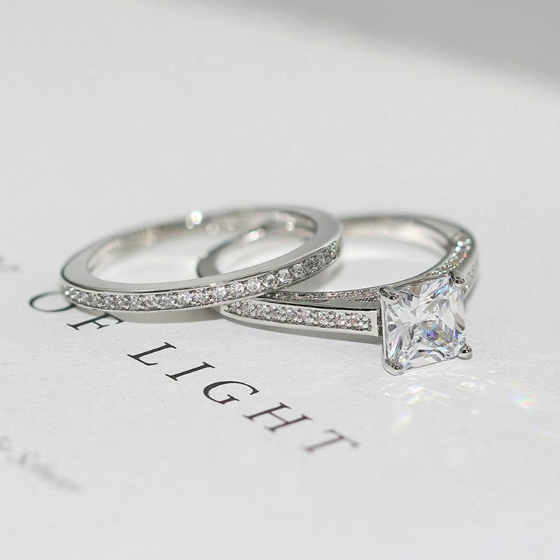 Anéis de casamento Zhouyang anel de noivado conjuntos para mulheres simples quadrado corte cubic zirconia 2 pcs prata cor presente moda jóias R605