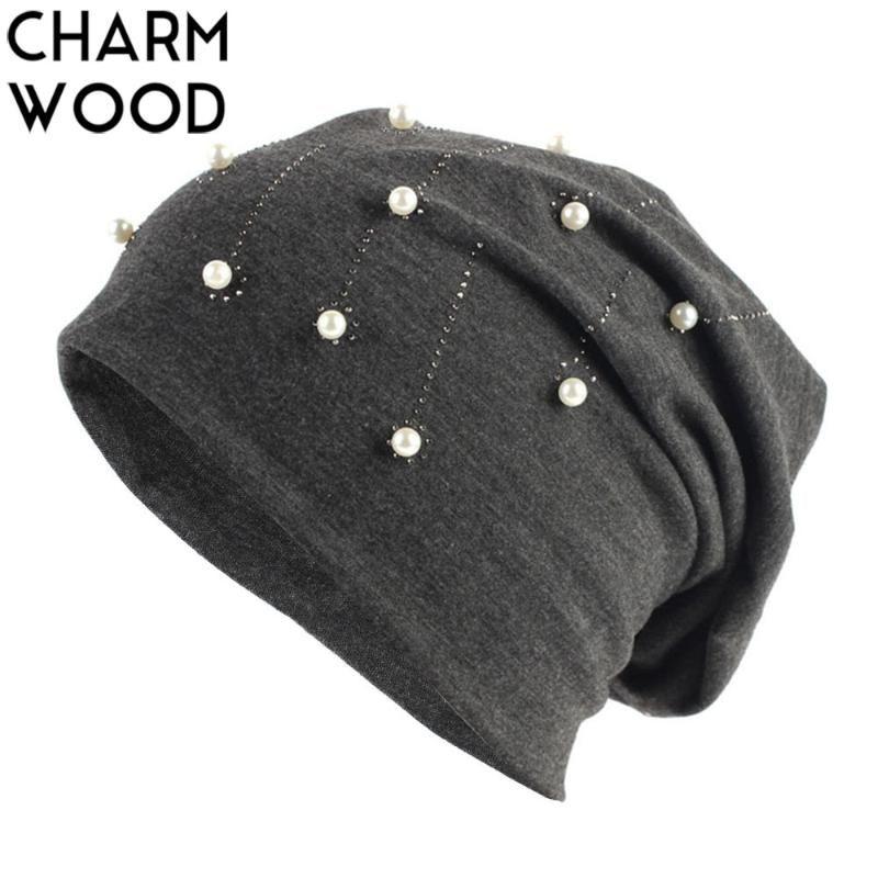 Women's Beanie Hat Autumn Fashion Rhinestones and Pearls Slouchy Beanie Hat for Women Plain Black Balavaca Skullies