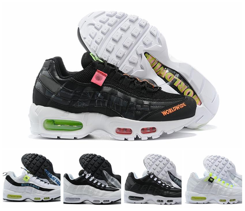 2020 Novas 95s Worldwide Mens Running Shoes Formadores Sneakers Mulheres Sports Triplo Black White des Chaussures Zapatos Tamanho 12