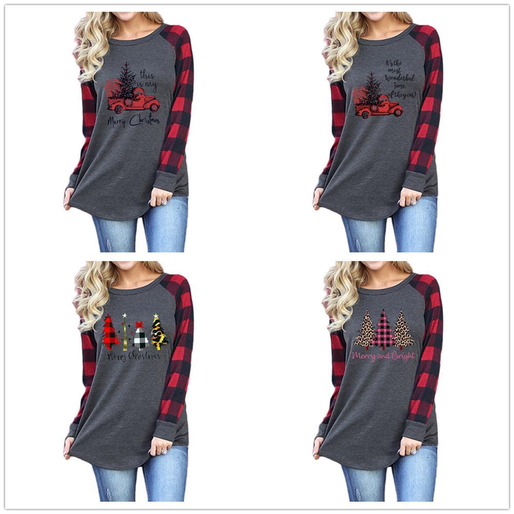 2020 neue Herbst-Frauen-Sweatshirts Weihnachten Hot Verkauf Bluse Weihnachtsbrief Auto Baum drucken Rundhals Raglan Langarm-T-Shirt