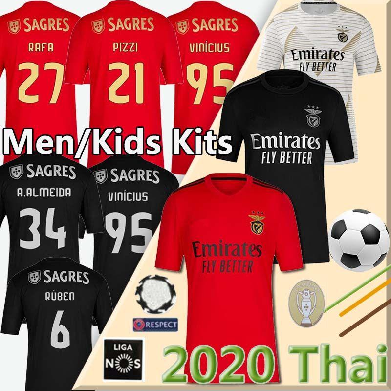 20 21 SL Benfica camisa de futebol Soccer Jersey JONAS JOAO FELIX VINICIUS Camisola de futebol PIZZI Seferovic RAFA A.ALMEIDA homens crianças uniforme