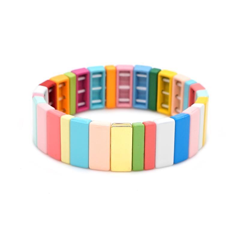 Shinus Bangles For Women Rainbow Beaded Bracelets Enamel Tile Bracelet Jewelry Pulseras Mujer 2020 Gift Bohemian Armband