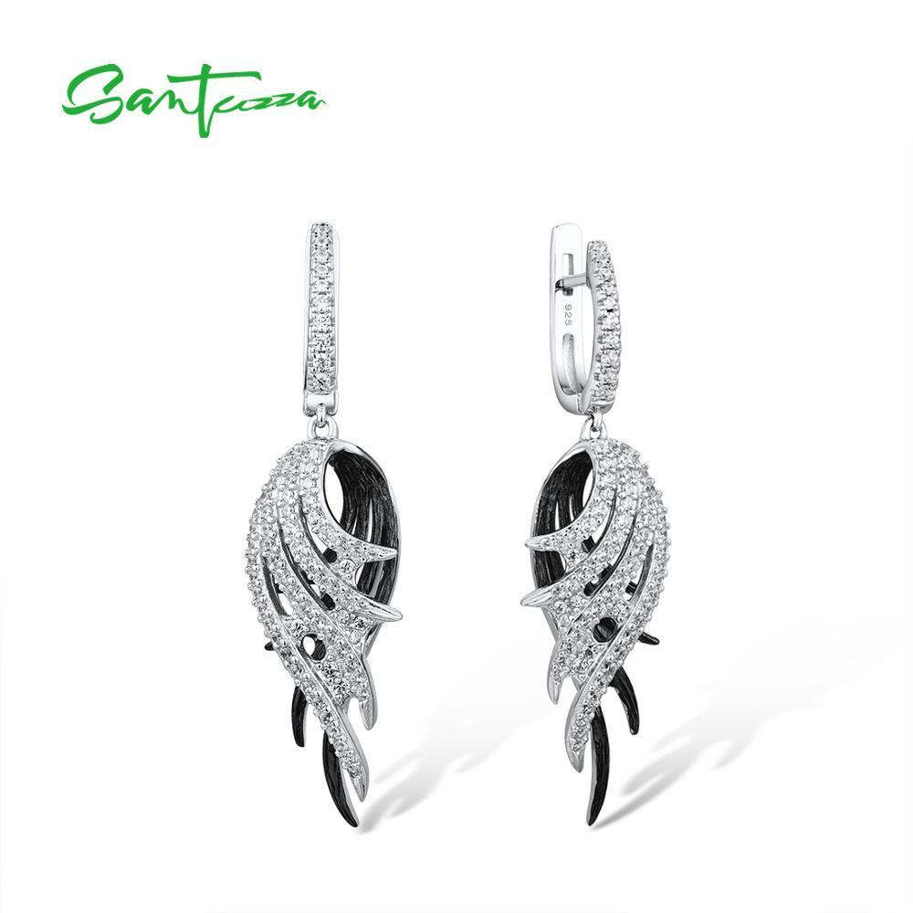 Joyería de plata pluma SANTUZZA gota pendientes para las mujeres 925 pendientes de plata Negro Blanco pluma de la manera 200923