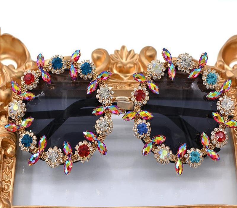Luxe Cristaux diamant rond Lunettes de soleil Femmes 2020 Vintage Lunettes de soleil Mesdames Cadeaux de partie Oculos Feminino Lentes Gafas De98
