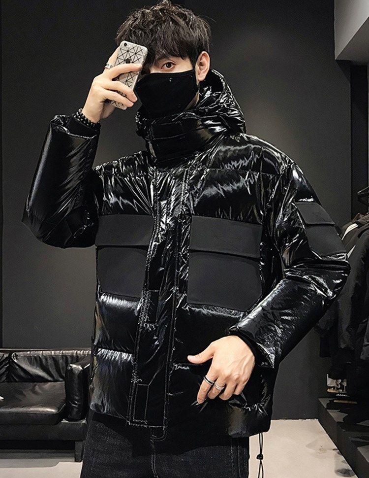 Caliente de invierno 2020 nuevos de lujo diseñador de los hombres chaqueta de color puro brillante hacia abajo euro americano tendencia apuesto todo-fósforo ocasional de empalme capas encapuchadas