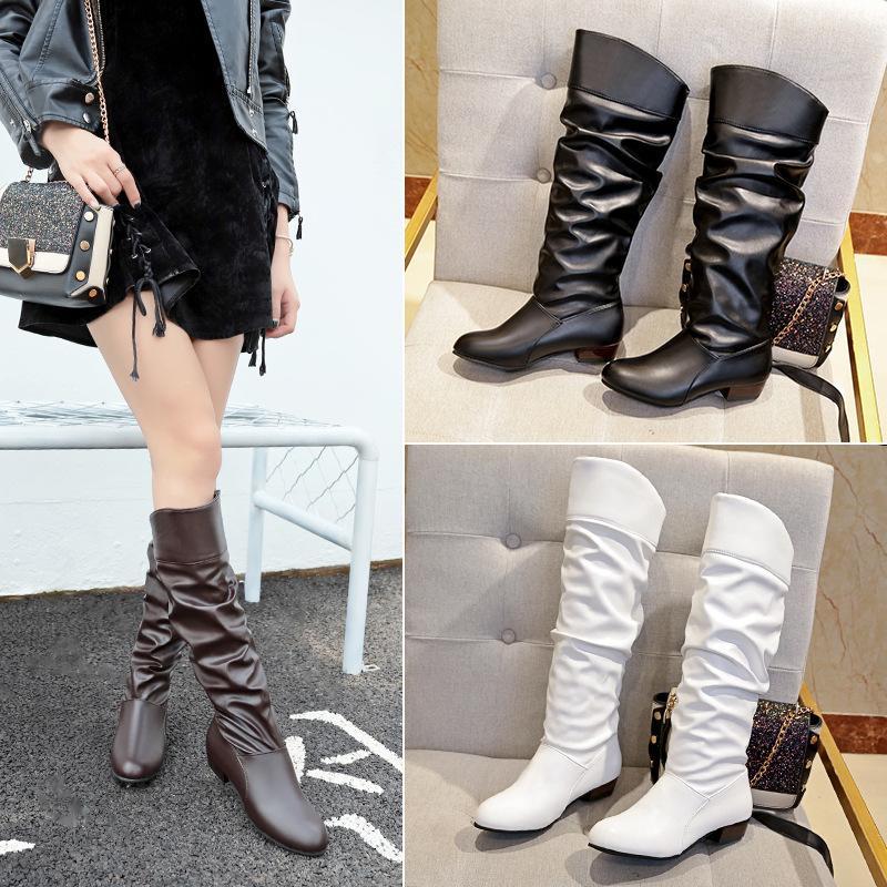 Outono e inverno botas novas Europa e 35-43 tamanho grande branco preto Estados Unidos botas altas das mulheres