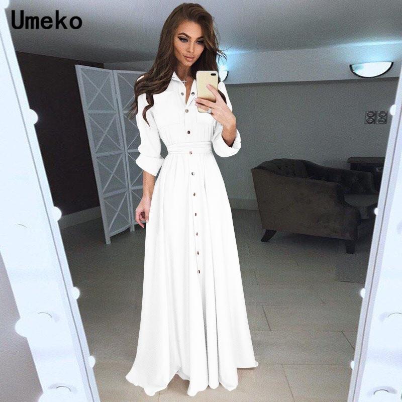Umeko Blanc Noir Robe chemise femmes turn-down Col solide Printemps Maxi Mesdames Robes robe à manches longues Casual Femme élégante T200914