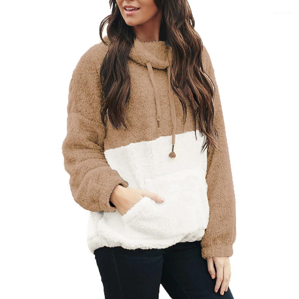 Рукав с капюшоном Толстовка Женская одежда Сыпучие Женщины Контраст Цвет толстовки пуловер Длинные
