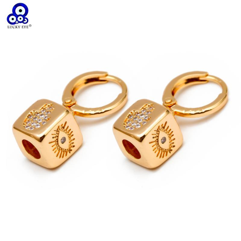 Anillos cuelga los pendientes del oído Plaza suerte Micro Pave ojo Hamsa mala estrella Gotas para los ojos pendientes del color oro para joyería BD186 muchachas de las mujeres