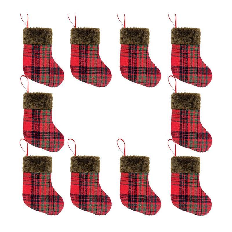 10Pcs Weihnachtsstrümpfe Stoff Weihnachtsmann-Socken-Geschenk-Kinder Candy Bag Snowman Deer Dekoration für Weihnachtsbaum