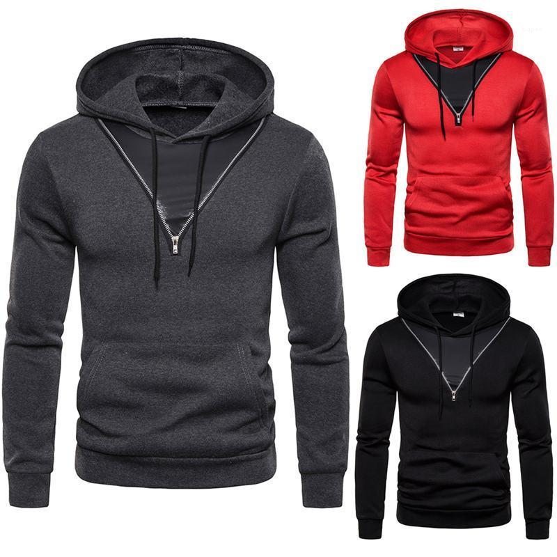 Tops Solid Color Mens Designer Pullover mit Reißverschluss-Pullover Langarm mit Kapuze Sweatshirt der Männer Sport Herren