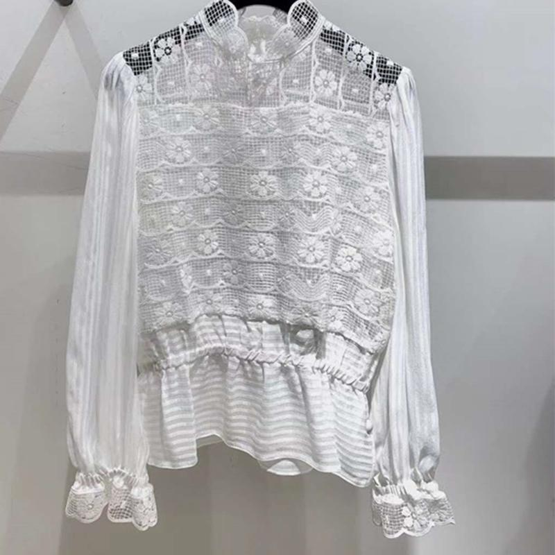 Women's Blouses & Shirts Women White Black Lace Blouse Long Sleeve Hollow Out Sweet 2021 Tops Ladies Shirt Spring Autumn