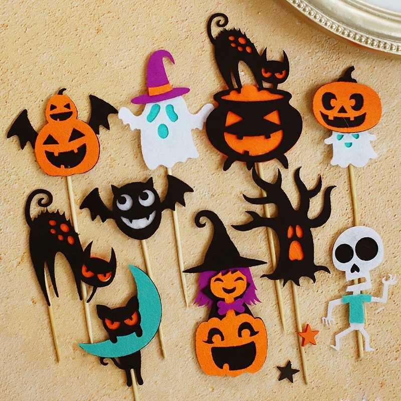 Happy Halloween senti fantôme de chauve-souris de chapeau de sorcière citrouille gâteau Trick or Treat Topper Dessert Décoration de fêtes