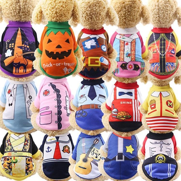 Nouveau festival de Noël de 50 pcs Uniforme chien drôle chat de chat vêtements fournitures d'automne et d'hiver habillement de citrouille en animaux de compagnie à vêtements pour animaux de compagnie T500174