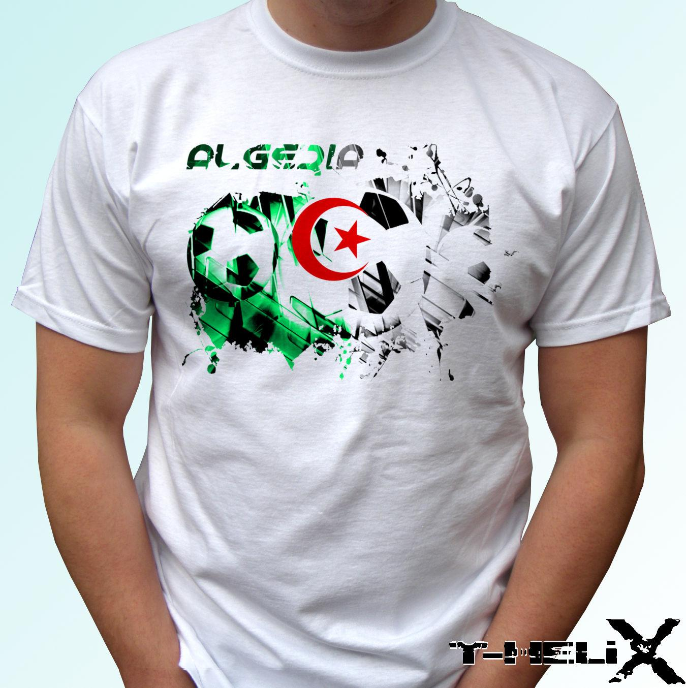 футбол флаг Алжира - белая футболка дизайн верхней части - мужской женский детских размерами ребенка Прохладных Повседневной гордости тенниски людей Unisex Новая мода