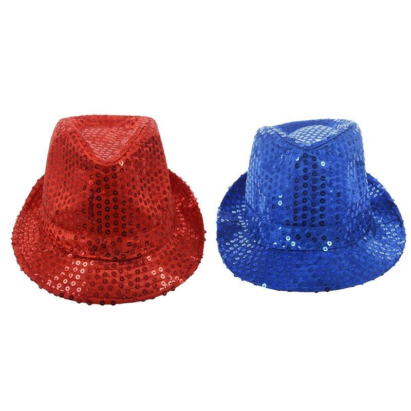 2pcs пришивания Trilby Hat Top Hat Необычные платья партии Hen Stag Night Танец Театр Шоу - Красный Синий