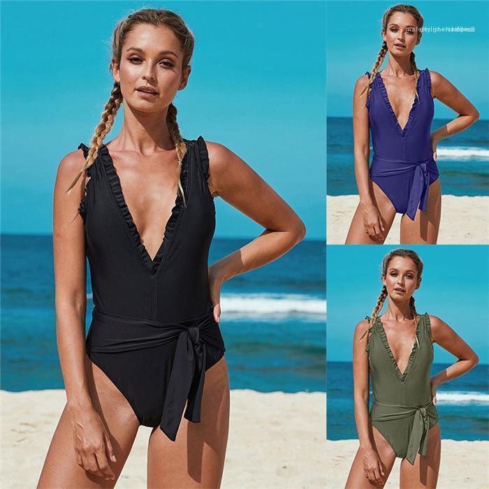 Donne Lotus profondo scollo a V costume da bagno Estate Foglia fasciatura sexy costume da bagno Famale Bikini colore solido