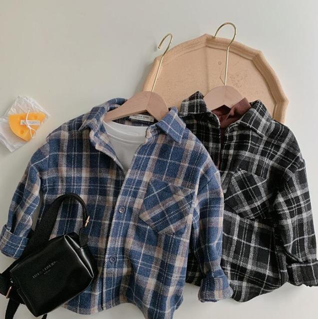 New INS Unisex Korean Japan Styles Kids Girls Boys Plaid Shirts Girls Boys Plaid Shirt Autumn Cotton Fashion Kids Top 1-7T