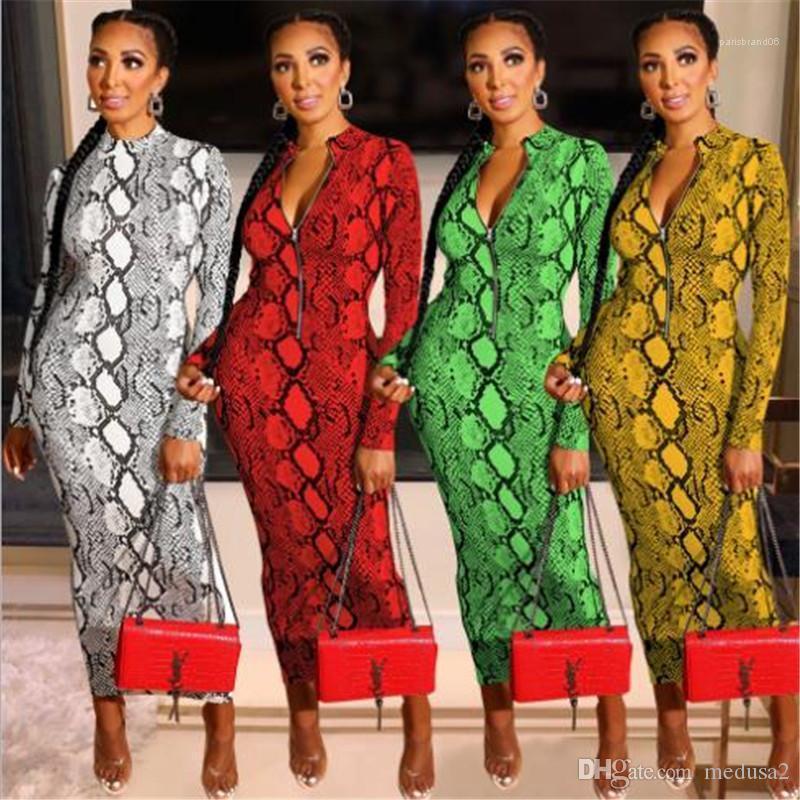 Seksi Ters Fermuar Uzun kollu Kalem BODYCON Elbiseler Moda Kadınlar Partisi Elbise Yılan derisi deseni Bayan Elbise Kulübü İnce