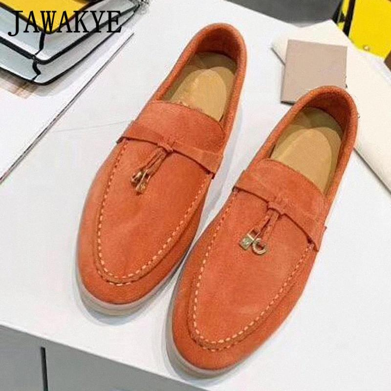 Doces cor camurça sapatos confortáveis planas para Toe Mulheres Round metal bloqueio Decor causais Shoes Deslizamento em Primavera Driving preguiçoso preguiçosos d1DJ #