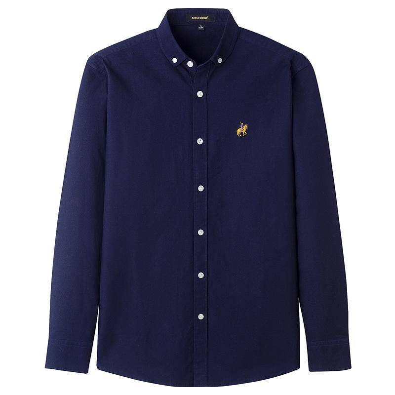 Повседневный Чистый хлопок мужские Оксфорд рубашки с длинным рукавом Толстые Slim Fit вышивки Фиолетовый рубашка модельером блузка 200925