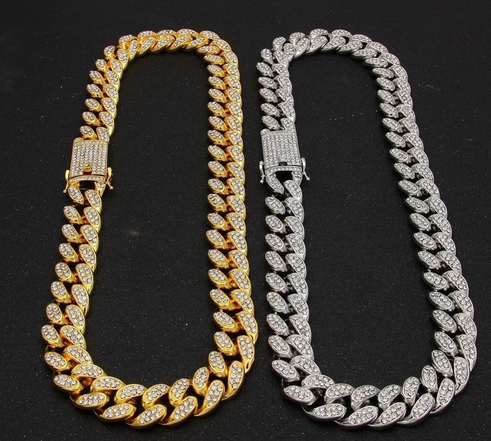 2cm HipHop Or Couleur Glacé Cristal Miami Cuba Chaîne en or collier en argent Bracelet HOT Set FORTS hiphop KING66