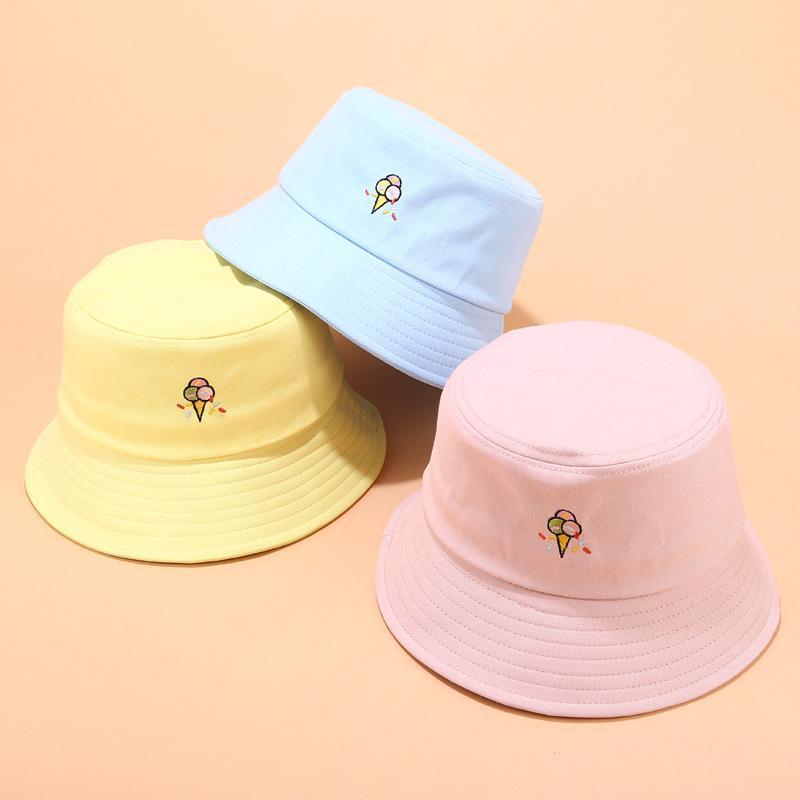 Pai-filho Homens Mulheres Hat bebê New bonito Fun creme bordado Fisherman Hat Outdoor Leisure Pára-Cap Bucket Gorros