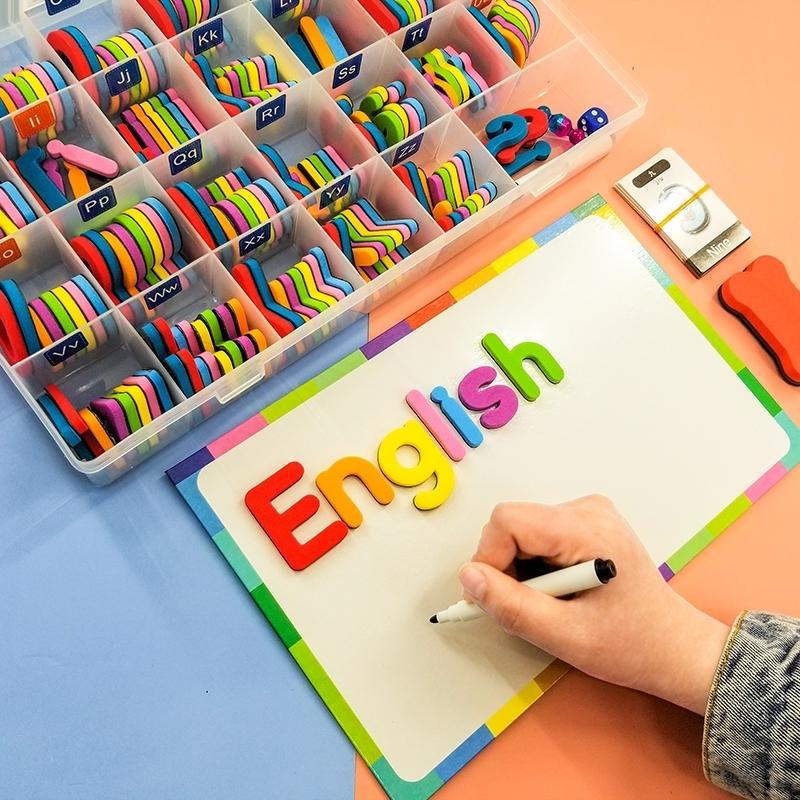 Manyetik Harfler oyuncak LJ200922 Öğrenme Buzdolabı Buzdolabı Eğitim Yazım için 208 Adet Büyük harf Küçük harf Köpük Alfabe ABC Magnetleri