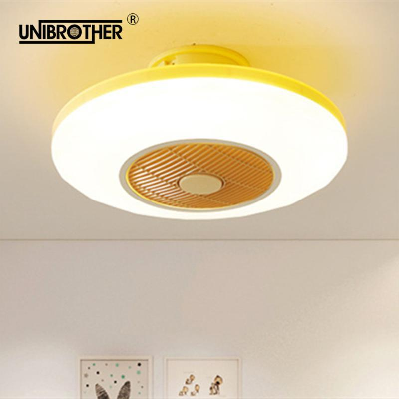 Ventilateurs électriques 50cm ventilateur de plafond LED avec lumière de commande à distance 110V 220V lampes de chambre à coucher enfants chambre maison restaurant 40w trois couleurs changeant