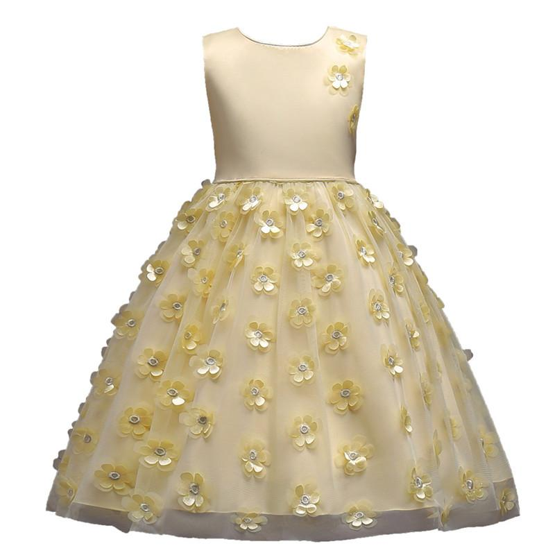 2019 Fashion Children Dresses For Girl Clothes Elegant Fower Girls Dress Kids Princess Birthday Applique Prom Designs Ball Gown